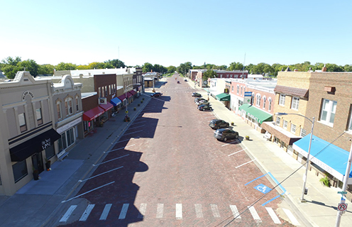 Image of a street in St. Paul, Nebraska.