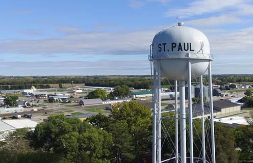 Image of the St. Paul, Nebraska water tower.
