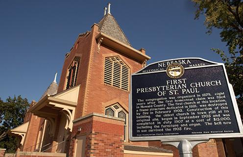 Image of a church in St. Paul, Nebraska.