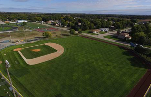 Image of a baseball field in St. Paul, Nebraska.